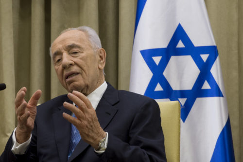 Israeli President Shimon Peres speaks during a meeting with Secretary of Defense Chuck Hagel in Jerusalem, April 22, 2013. Hagel finished his second full day in Israel by meeting with Peres on a six day trip to the middle east.(Photo by Erin A. Kirk-Cuomo) (Released)